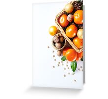 Christmas decoration with tangerines Greeting Card