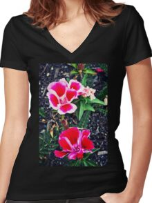 Contrast Women's Fitted V-Neck T-Shirt