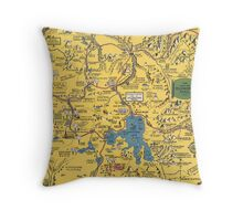 Vintage 1930 Yellowstone National Park map - special gift idea - gift for mother, father gift, Christmas gift Throw Pillow