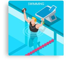 Swimming Isometric Vector Canvas Print