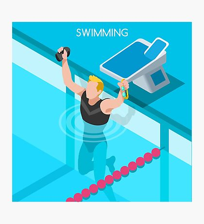 Swimming Isometric Vector Photographic Print