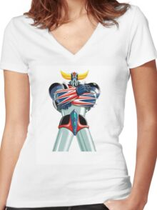 UFO ROBOT Women's Fitted V-Neck T-Shirt