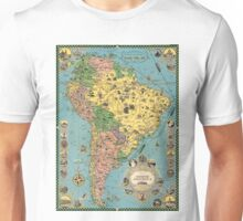 Vintage 1930 South America map design - Christmas - Anniversary - Valentine's Day - Mother's day - Father's day - Memorial day Unisex T-Shirt