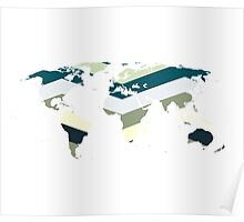 Sea green world map Poster