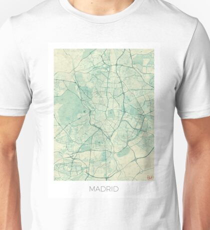 Madrid Map Blue Vintage Unisex T-Shirt