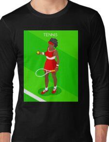 Tennis Player Vector Isometric Long Sleeve T-Shirt