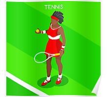 Tennis Player Vector Isometric Poster