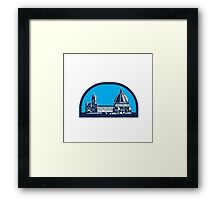 Dome of Florence Cathedral Retro Woodcut Framed Print