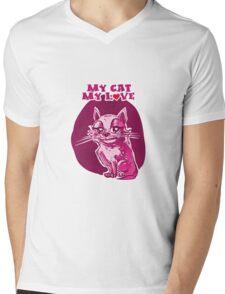 my cat my love cartoon style lovely cat Mens V-Neck T-Shirt