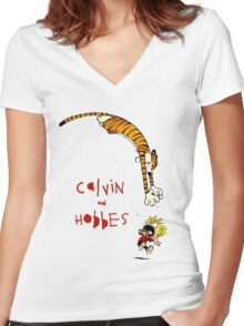 calvin and hobbes 99 Women's Fitted V-Neck T-Shirt