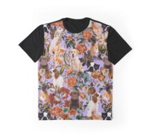 Dog and Floral Pattern Graphic T-Shirt