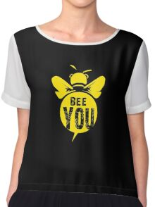 Bee You Cool Bee Graphic Typo Design Chiffon Top