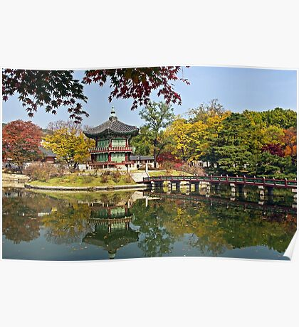 Hyangwonjeong Pavilion in Autumn Poster