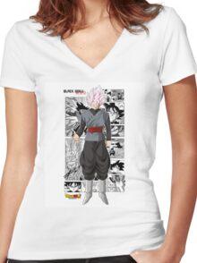 Super Saiyan Rose Black! Women's Fitted V-Neck T-Shirt