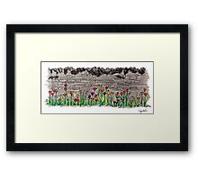 Spring flowers and stone wall Framed Print