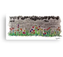 Spring flowers and stone wall Canvas Print