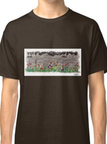 Spring flowers and stone wall Classic T-Shirt