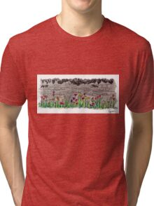 Spring flowers and stone wall Tri-blend T-Shirt