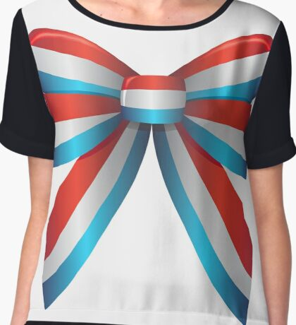 Red White and Blue Ribbon Chiffon Top