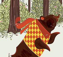 Skating in the Woods vintage illustration. by Nick  Greenaway
