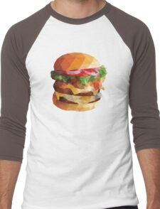 Gourmet Burger Polygon Art Men's Baseball ¾ T-Shirt