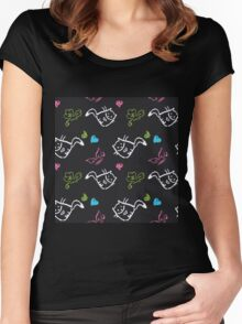 pattern with cats,hearts,butterfly Women's Fitted Scoop T-Shirt
