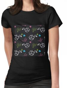 pattern with cats,hearts,butterfly Womens Fitted T-Shirt