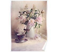 Still life with fresh flowers and tea set Poster