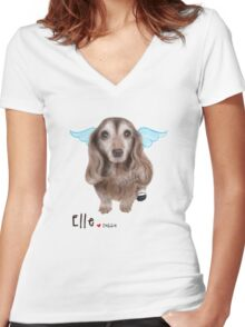 Custom Pet Portrait (Elle) Women's Fitted V-Neck T-Shirt