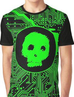 Green Blurry Skull (Cybergoth) Graphic T-Shirt