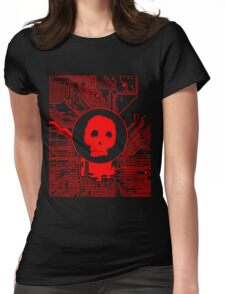 Red Blurry Skull (Cybergoth) Womens Fitted T-Shirt