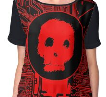 Red Blurry Skull (Cybergoth) Chiffon Top