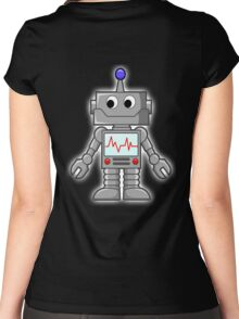 ROBOT, Cartoon, Smiley Women's Fitted Scoop T-Shirt