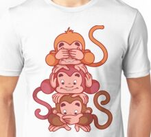 Three wise monkeys.  Unisex T-Shirt