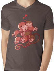 Two monkeys hugging. Mens V-Neck T-Shirt