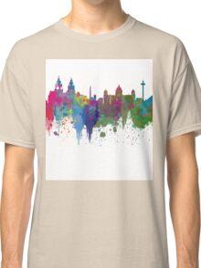 Liverpool seafront city line skyline waterfront watercolour colours colour splash by Evangelos Kofinakos Classic T-Shirt