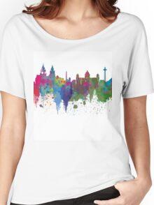Liverpool seafront city line skyline waterfront watercolour colours colour splash by Evangelos Kofinakos Women's Relaxed Fit T-Shirt