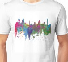 Liverpool seafront city line skyline waterfront watercolour colours colour splash by Evangelos Kofinakos Unisex T-Shirt