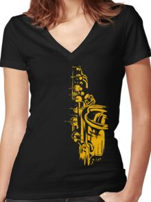 Saxophone Keywork Women's Fitted V-Neck T-Shirt