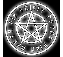 WICCA, White, Pentacle, Pentagram, Witch, Wizard, Modern, Pagan, Witchcraft, Religion, Cult Photographic Print