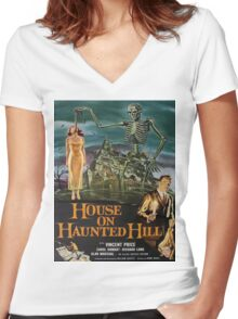 Vintage poster - House on Haunted Hill Women's Fitted V-Neck T-Shirt