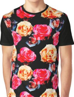 Pattern of rose on black background. Graphic T-Shirt