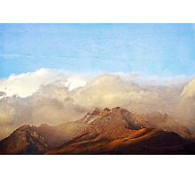 Sun kissed mountain in clouds Photographic Print