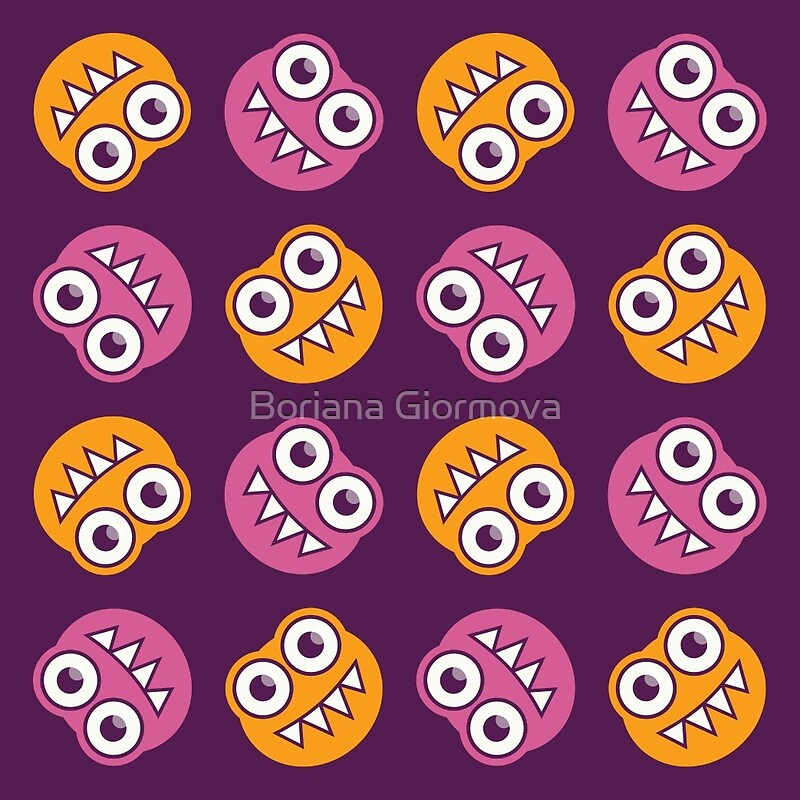 Funny pattern of cute bugs with sharp teeth smiling in pink, orange and purple colors