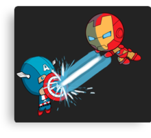 Chibi Captain America vs Chibi Iron Man Canvas Print