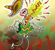 Mexican Skeleton Burping Hot Chili Peppers by Zoo-co
