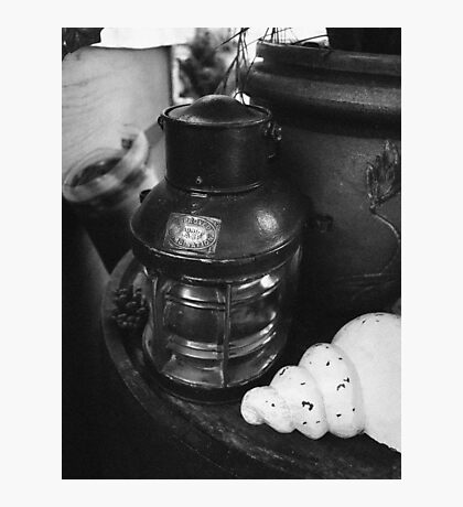 Antique Oil lamp on an old table Photographic Print