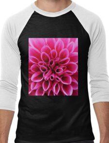 Pink Dahlia Flower Macro Men's Baseball ¾ T-Shirt