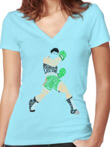 Little Mac Typography Women's Fitted V-Neck T-Shirt