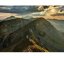 Sunset over mountains Photographic Print